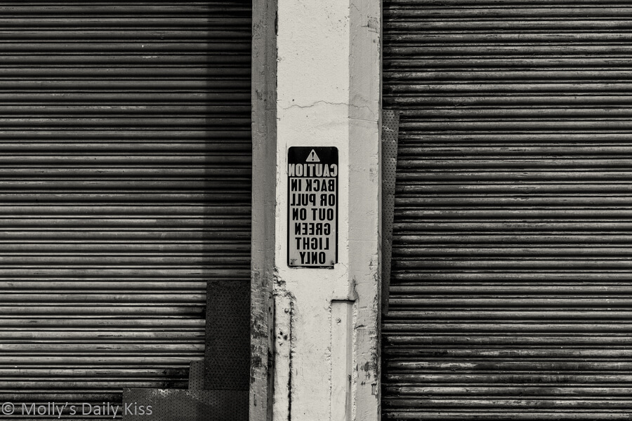 Shredded Wheat loading dock sign in black and white