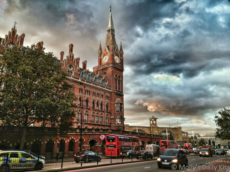 St Pancras Station London with moody sky
