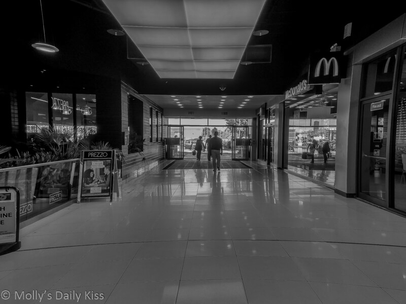 The Galleria, Hatfield, Exit in Black and White