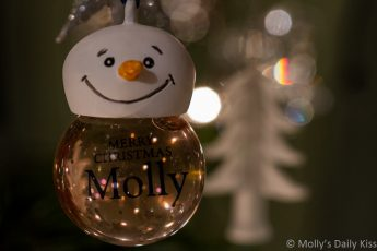 Molly Snowman bauble Merry Christmas with lights reflected