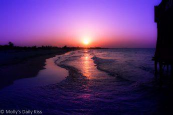 Sunset over Tunisa beach