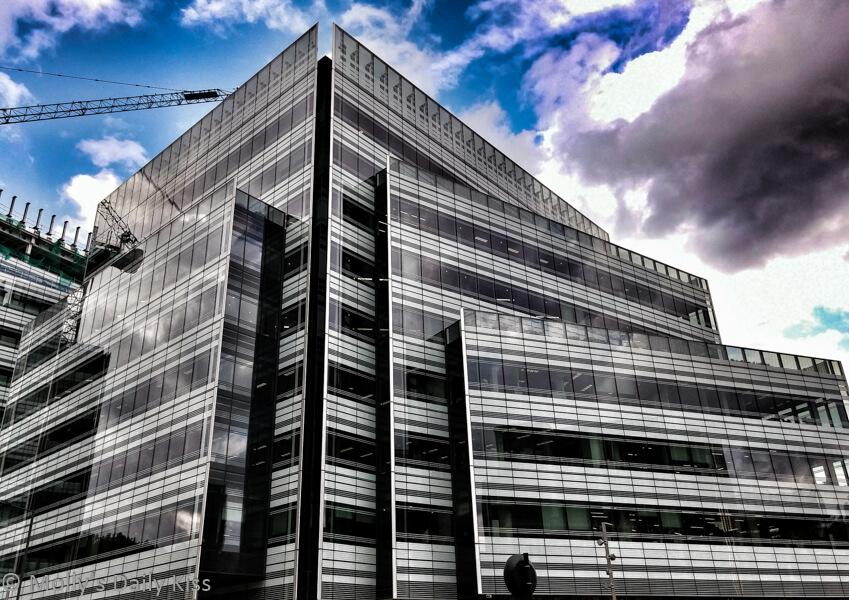 London buildings with crane