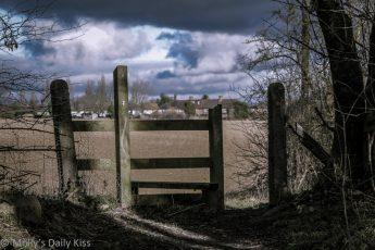 Stile gate across fields