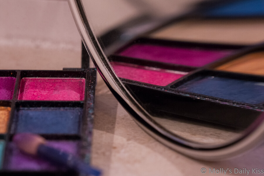 Eye shadow make up reflected in mirror