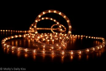 Twisted line of sparkly lights