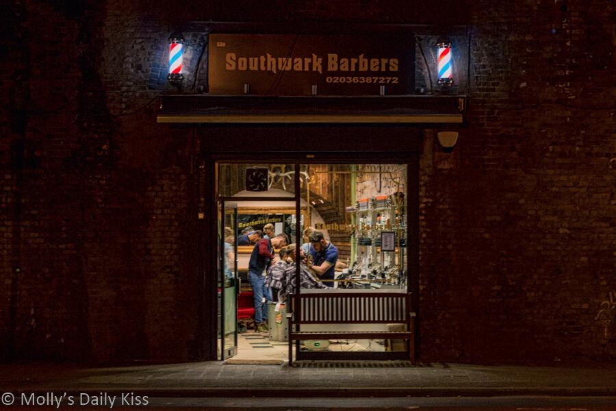 Southwark Barbers London Bridge at night