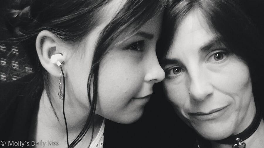 Molly and daughter, self portrait, black and white, mini me
