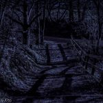 Moonlit steps down into the darkness of night