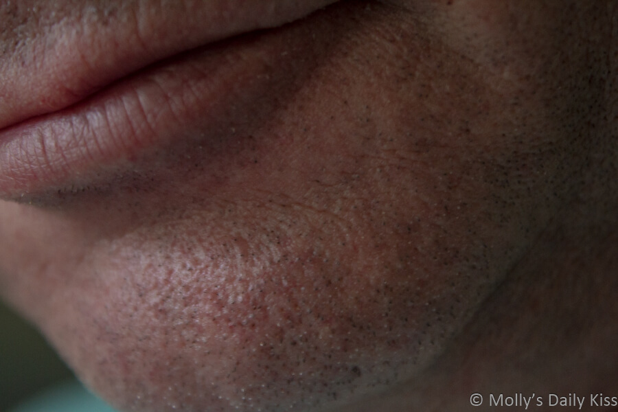 Close up shot of a beautiful mans chin