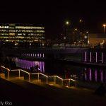 Light show in regeneration area of Kings Cross regents canel relfections