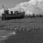 Hastings Fishing boat on the beach in black and white