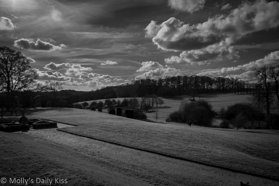Black and white landscape bennington Lordship with clouds