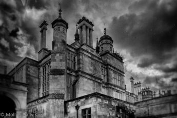 Burthgley house in black and white edit haunting gothic building