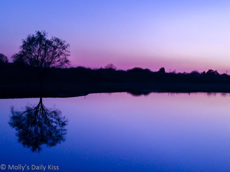 blue purple setting sunset colours