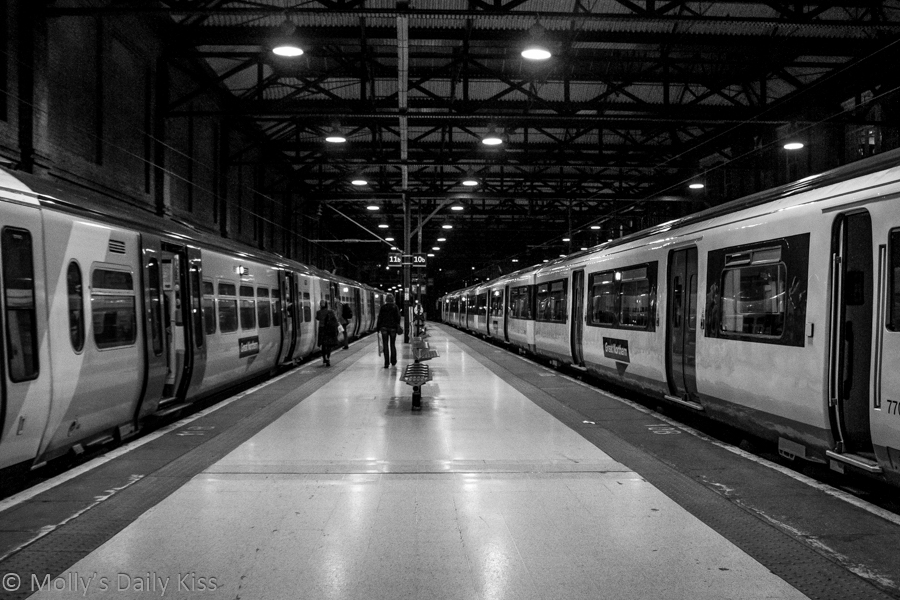 Kings Cross station at night platform 9 taking the train
