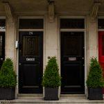 red door and black doors