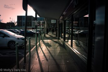 shadows on street in the late afternoon
