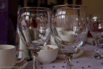 reflections in wine glasses dinning