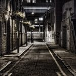 Dark street summer night in London