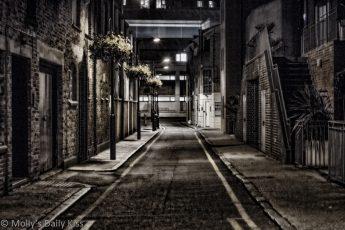 Dark street summer night in London