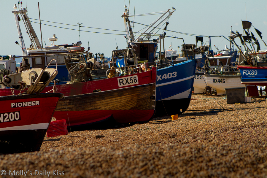 Fishing fleet on the beach at Hastings Fish