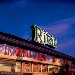 Rita's gelato Philadelphia sign with evening sky loves