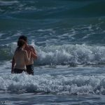 couple kiss in the sea