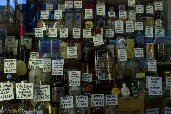 Window display of drinks alcohol bottles