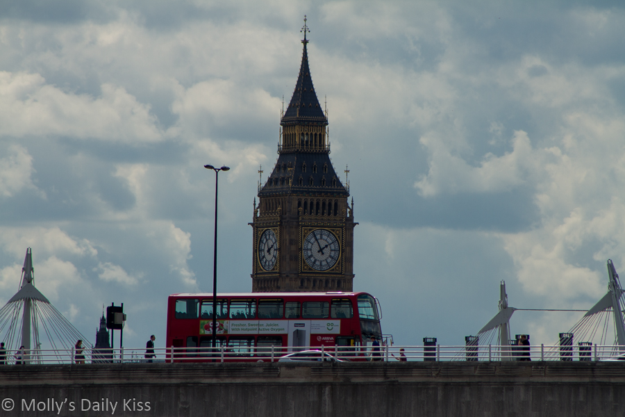 Westminister Bridge with iconic Big ben and red london bus