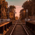 autumn mellow colours down the train track