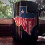 Black Austin tea mug in the sun