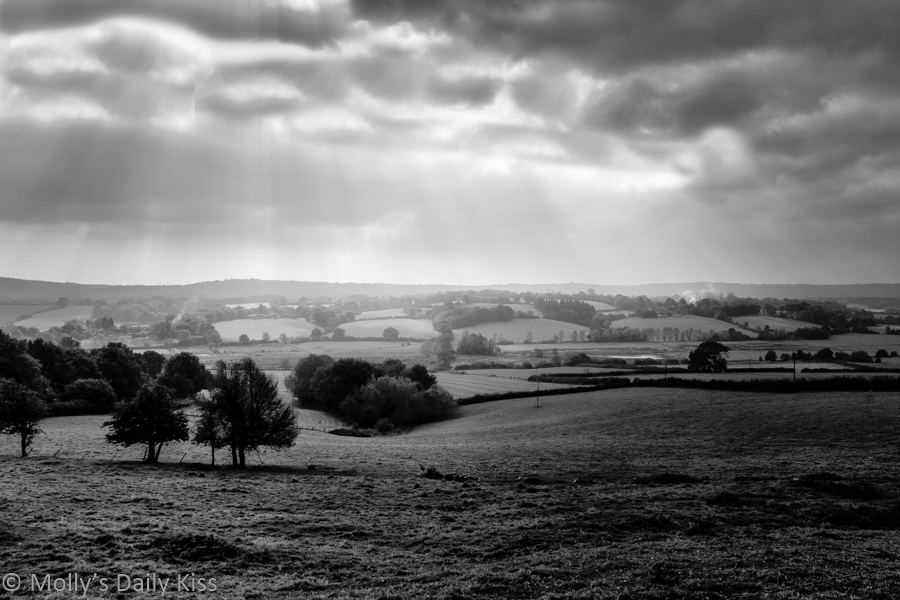 Black and white landscape view over Brede Valley