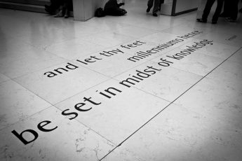 Midst of Knowledge Tennyson poem on floor of British museum
