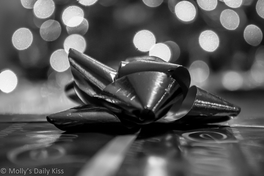 Christmas gifts with bow in black and white