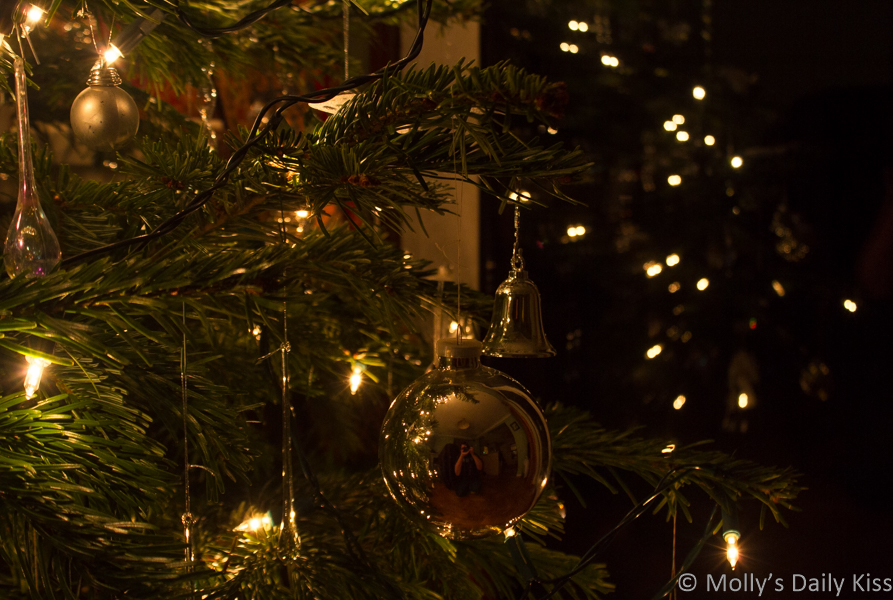 Self portrait in Christmas tree decoration on a wintry night