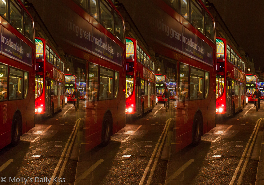 Triptych of london buses at night