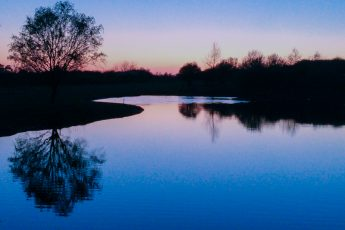 blue sunset reflected in water landscape
