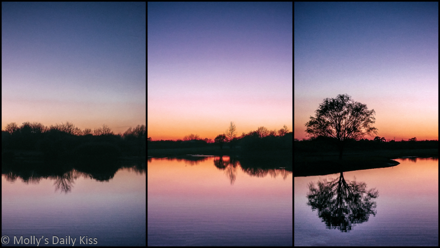 Triptych of sunset silhouette over lake