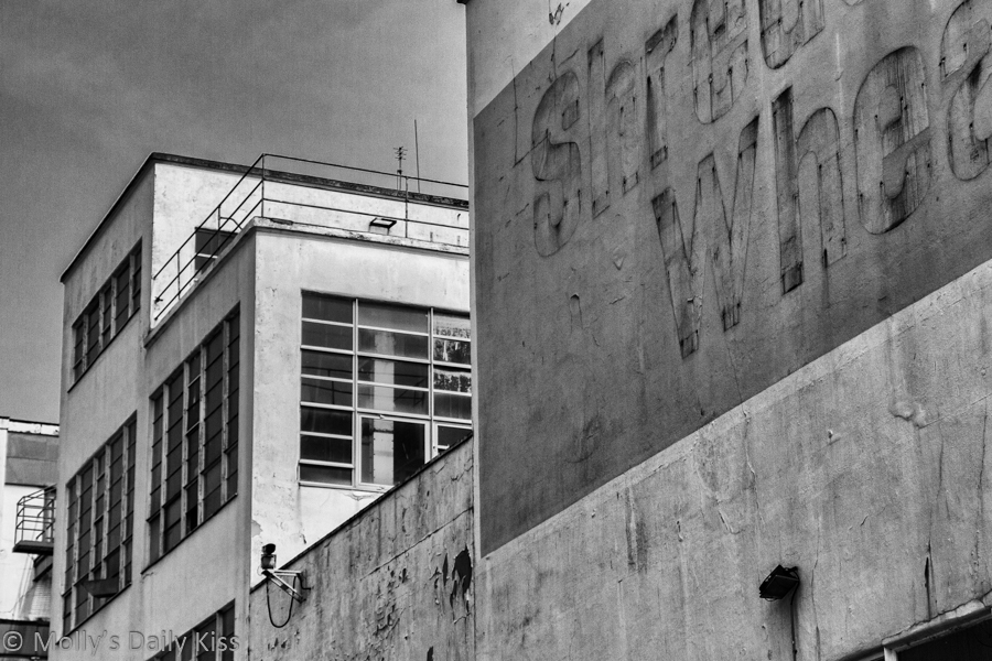 Unloved Black and White os Shredded Wheat factory in Welwyn Garden City