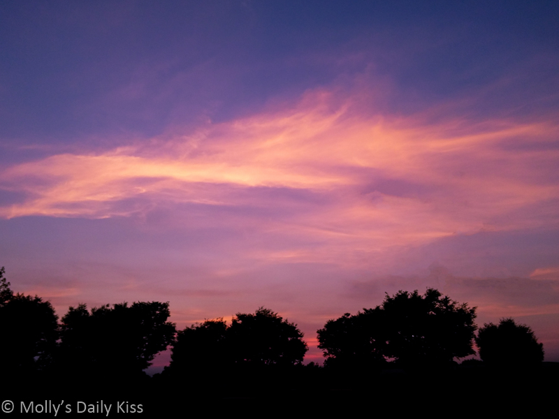 Pink and purple sky cloud colours in sunset sky