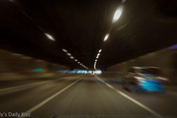 Driving through tunnel Chauffeur driven
