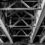 Steel girders under bridge