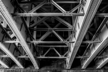 Steel girders under bridge