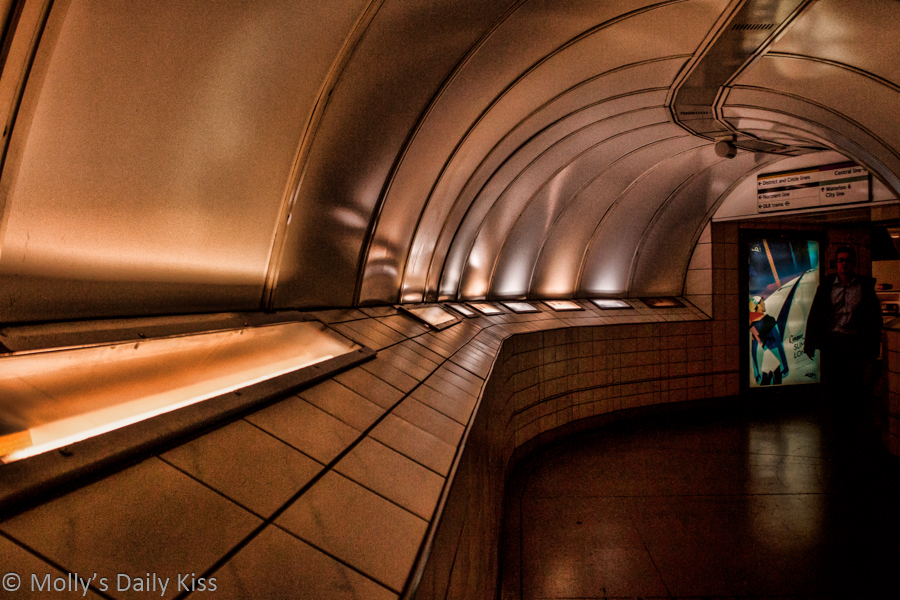 Underground tunnel between tube stations, London