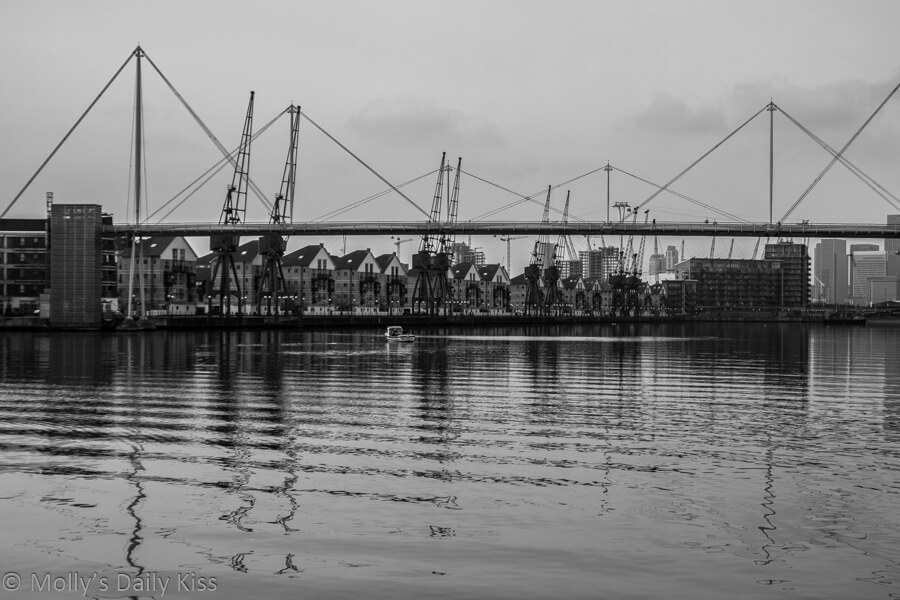 London Docklands in black and white