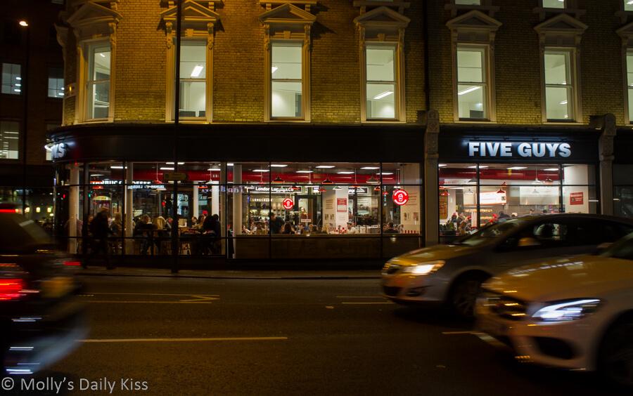Five guys in Kings Cross London