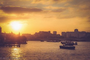Sunset over river thames is a free light show
