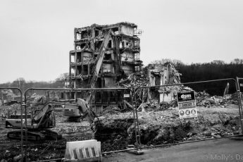 rubble left of the QEII hospital Welwyn Garden city