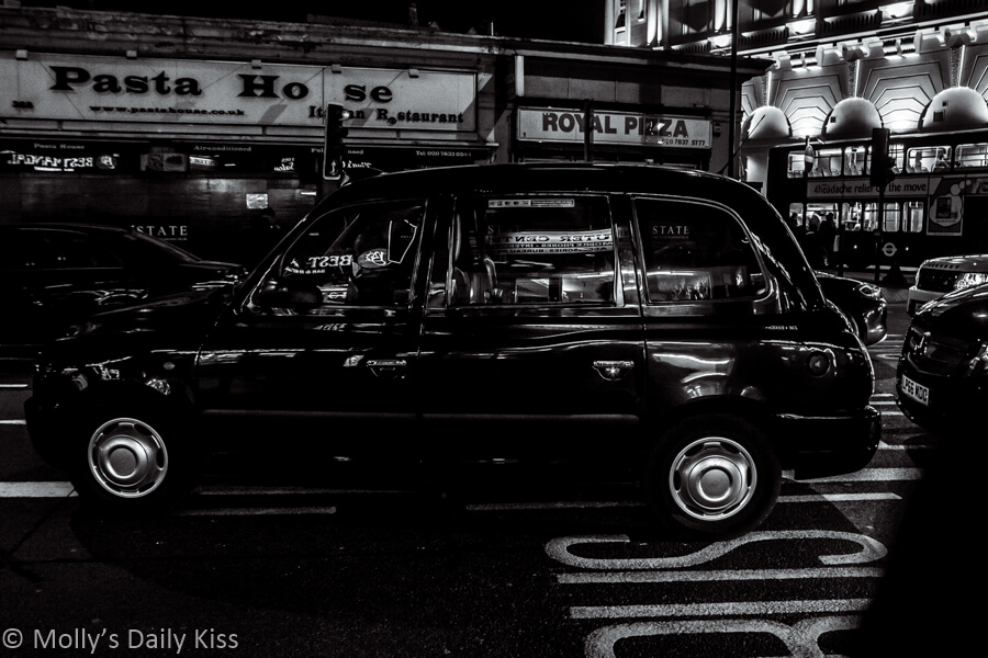 black and white of london black cab, Hackney Carriage