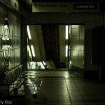 Underground tube platform Monument station in black and white. Tunnels